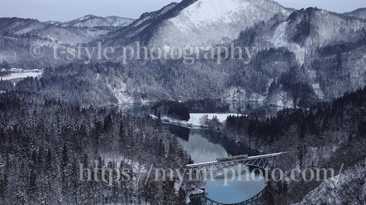 JR只見線第一橋梁の冬景色