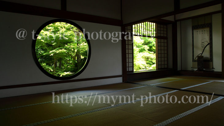 新緑の源光庵。悟りの窓と迷いの窓