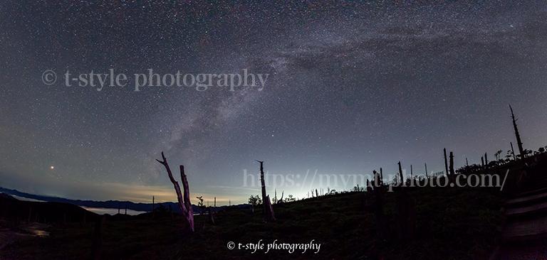 大台ヶ原で撮影した火星と天の川