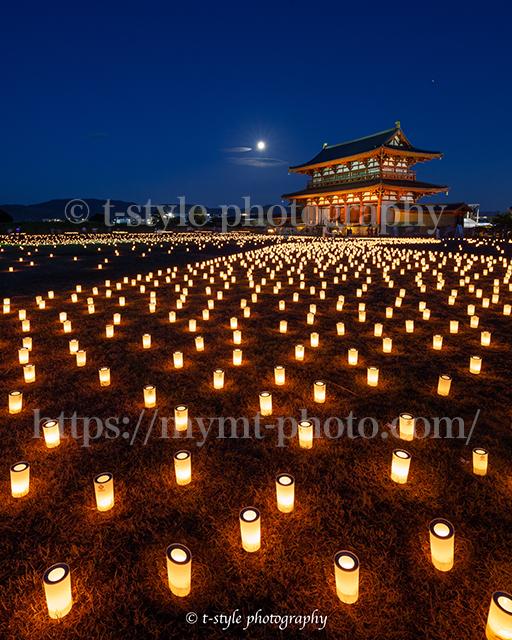 平城京天平祭でライトアップされた朱雀門