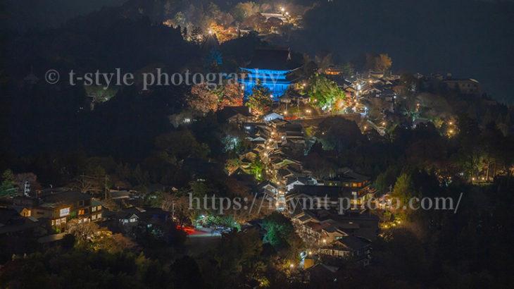 吉野山の金峯山寺蔵王堂。世界糖尿病デーによるブルーライトアップ。