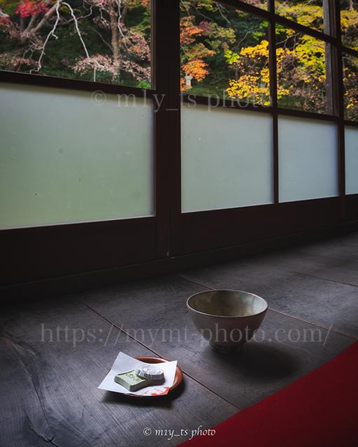 當麻寺西南院の紅葉と抹茶